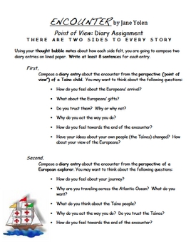 Encounter - Jane Yolen - Writing Prompt with Graphic Organizer