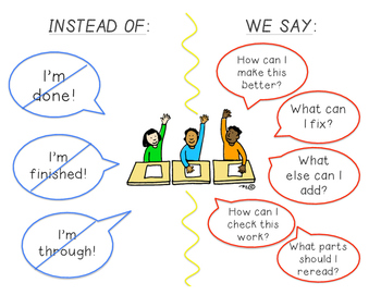 """Encouragement Poster for classroom when students are """"finished"""" an assignment"""