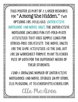 FREEBIE! Among the Hidden by Margaret Peterson Haddix Encouragement Quote Poster