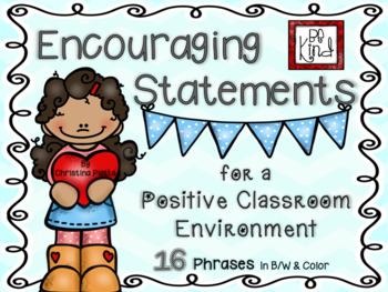 Encouraging Statements for a Positive Classroom Environment