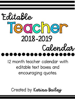 Encouraging Teacher Calendar 2018-2019
