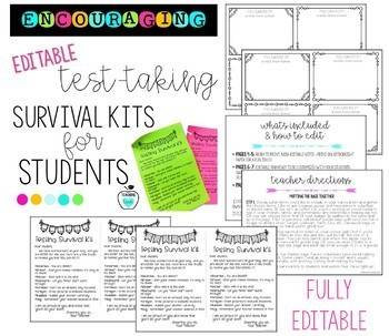 Encouraging Test-Taking Student Survival Kit