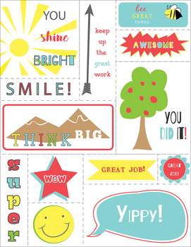 Encouragment Labels or Stickers Printable