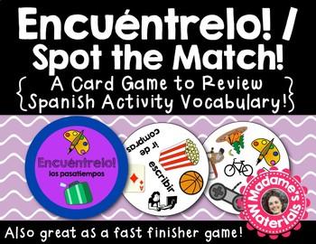 Encuéntrelo: Los Pasatiempos! A Spot the Match Game for Spanish Activity Vocab