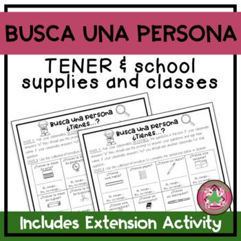 Encuentra alguien que...Tener and School Supplies