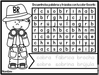 Encuentra las Palabras con Silabas Trabadas (Blends in Spanish)