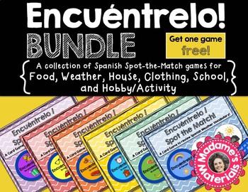 Encuéntrelo Bundle! Spanish Spot the Match Games for Vocabulary Review