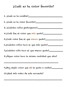 Encuesta color favorito/ survey graph favorite color spanish bilingual