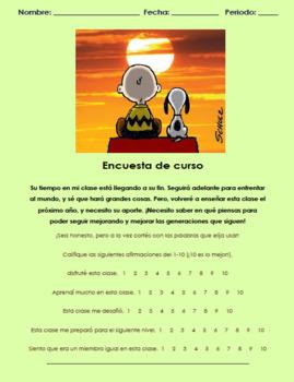 Encuesta fin de año en español. Survey for end of year in Spanish