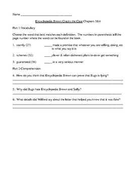 Encyclopedia Brown Cracks the Case Comprehension and Vocabulary Packet