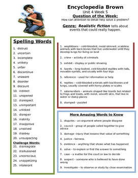 Encyclopedia Brown  Reading Street 4th grade  Unit 4 Study guide spelling review