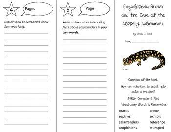 Encyclopedia Brown Slippery Salamander Trifold - Reading Street Gr.4 Unit 4 Wk 5