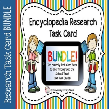 Encyclopedia Research Task Cards with Self-Checking QR Codes BUNDLE! by Elementary Library Mama