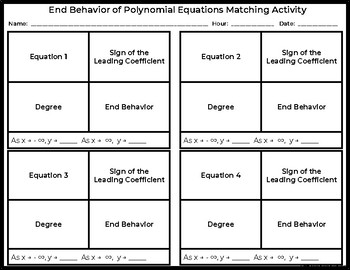 End Behavior of Polynomial Equations Activity (Cut and Paste)