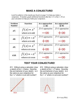 End Behavior of a Polynomial Function: A Graphing Calculator Investigation