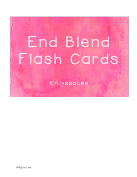 End Blend Flash Cards -Orton Gillingham Aligned
