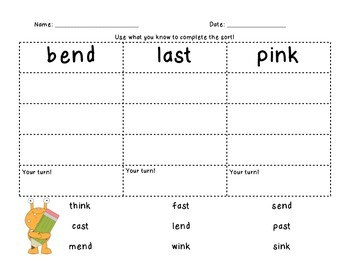 End Blend Word Sort