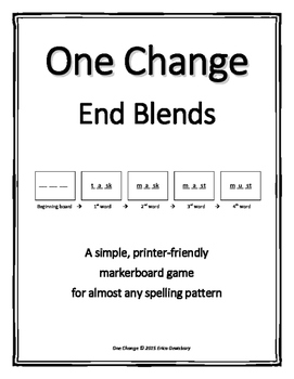 "End Consonant Blends- ""One Change"" Whiteboard Game"