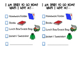 End Of Day Checklist- Packing Your Backpack Visual Checklist