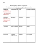 End Of Grade Reading Vocab Graphic Organizer