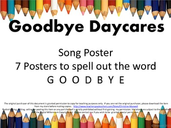 End Of School GOODBYE Daycare Song and Letter Posters