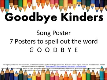 End Of School GOODBYE Kinders Song and Letter Posters