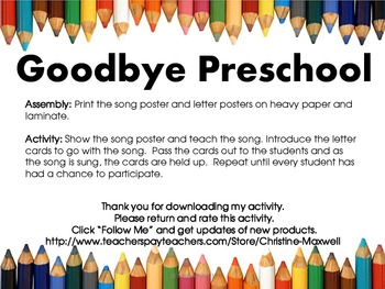 End Of School Goodbye Preschool Song And Letter Posters Tpt