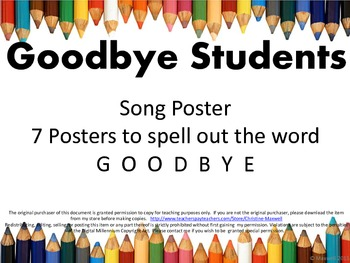 End Of School GOODBYE Students Song and Letter Posters