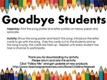 End Of School Goodbye Students Song And Letter Posters Tpt