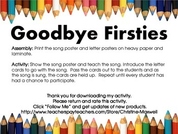 End Of School Year GOODBYE for Firsties Song and Letter Posters