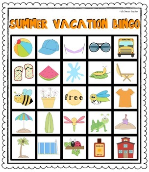 End Of The School Year (Summer Vacation) Bingo