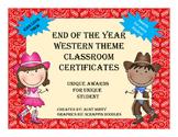 Cute Classroom Award Certificates, Cowboy Theme