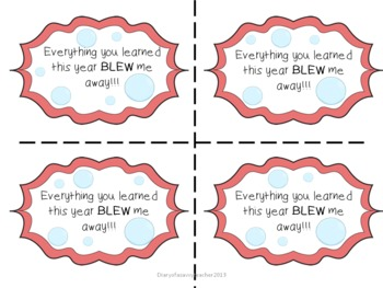End Of The Year Bubbles Gift Labels for Students