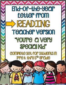 End Of The Year Letter From READING Teacher - PreK thru Fifth Grade