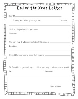 End Of The Year Letter From Teacher To Student Worksheets