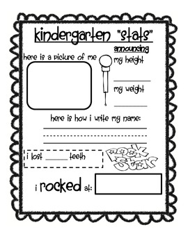 End Of The Year Memory Book For Kindergartners