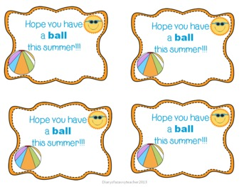 End Of The Year Summer Gift Labels