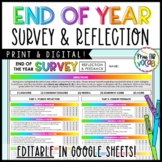 End Of The Year Reflection and Feedback Survey Activity