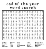 End Of The Year Word Search For Kids