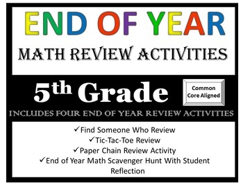 End Of Year 5th Grade Math Review Bundle
