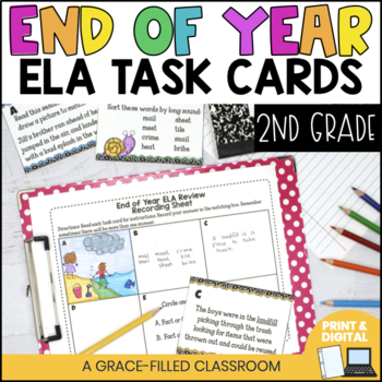 End Of Year: ELA Task Cards {2nd Grade}
