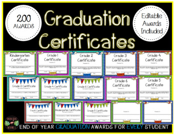 End Of Year Graduation Certificates Awards Editable Whole School