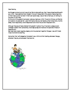 End Of Year Letter To Parents!