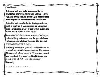 End Of Year Letter from Teacher for Boy/Girl (with place for picture)