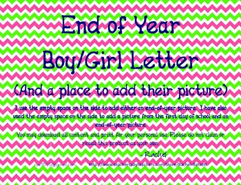 End Of Year Letter from Teacher for Boy/Girl (with place f
