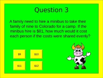 End Of Year Math Activities: Worded Problem Quiz