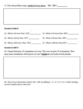 End Of Year Math Test - 2nd Grade Common Core Aligned