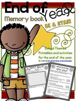 End Of the Year Activities - Memory Book Kindergarten First Grade