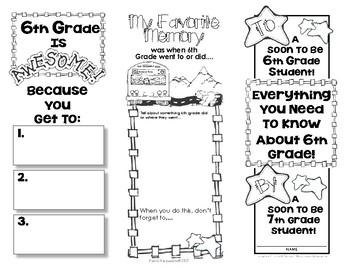 End Of Year Memory Brochure - 'Graduating' 6th Graders make for 5th Graders