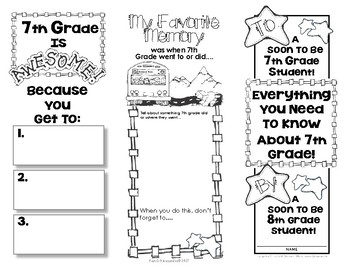 End Of Year Memory Brochure - 'Graduating' 7th Graders Make For 6th Graders